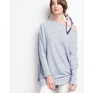 Tops - Blue rib knit asymmetrical top